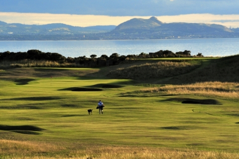 Gullane No 1. The 12th with Edinburgh backdrop