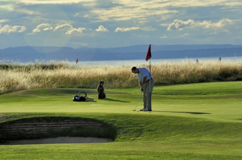 Gullane No 1. 3rd green with dog